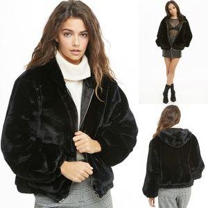 NWOT Forever 21 Black Faux-Fur Zip Hoodie